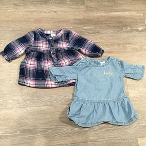 ❗️2 baby girl 3 month Blouses Plaid chambray
